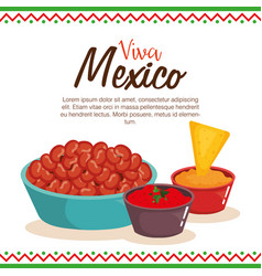 Delicious mexican food and sauces vector