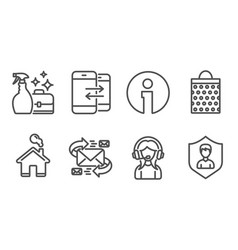 E-mail cleanser spray and shopping bag icons vector