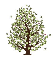 Eco Summer Tree with green leaves vector image