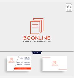 Education book library line logo template icon vector