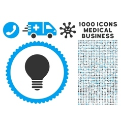 Electric Bulb Icon with 1000 Medical Business vector image