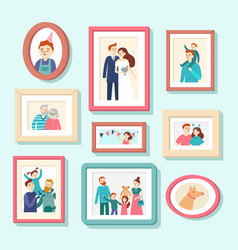 family members portraits wedding photo in frame vector image