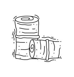 farming round hay icon hand drawn icon set vector image