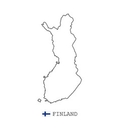 Finland map line linear thin simple vector