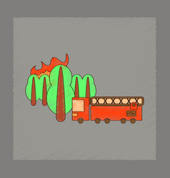 Flat shading style icon forest fire truck vector