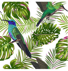 Floral tropical seamless pattern with humming bird vector