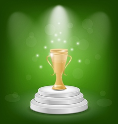 Football cup on podium light background vector