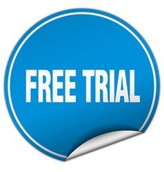 Free trial round blue sticker isolated on white vector