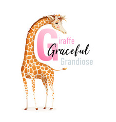 g is for giraffe animal alphabet for children vector image