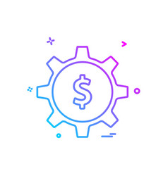 gear money dollar icon design vector image