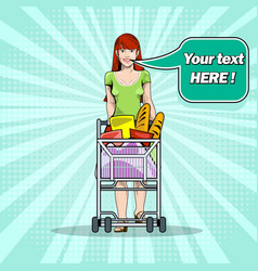 girl with groceries in a trolley in a supermarket vector image