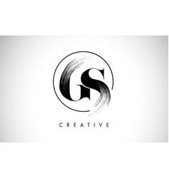 Gs brush stroke letter logo design black paint vector