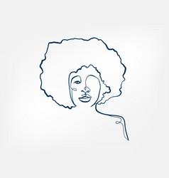Hair afro hairstyle girl line art single line vector