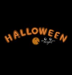 halloween neon signhappy typography vector image