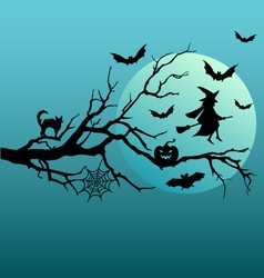 Halloween witch and flying bats vector image