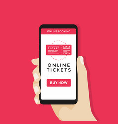 Hand holding smart phone with online cinema ticket vector