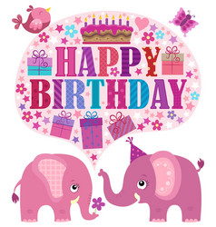 Happy birthday theme with elephants 3 vector