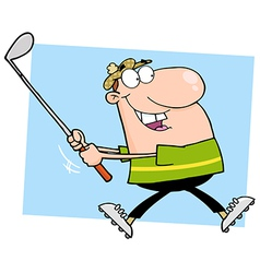 Happy Golfer Running vector image