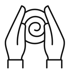 Hypnosis hands icon outline style vector