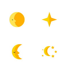 Icon flat night set of moon asterisk crescent vector