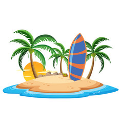 isolated summer island on whate background vector image