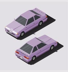 Isometric car sedan in lowpoly style vector