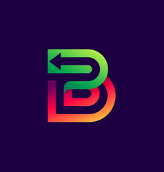 letter b logo with arrow inside vector image