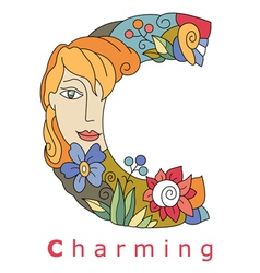Letter c charming vector