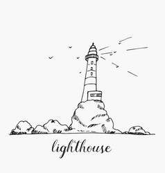 lighthouse hand drawn outline sketch vector image