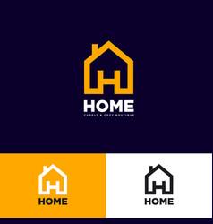 logo home h letter house symbol vector image