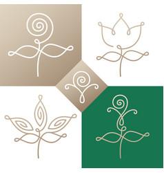 Logo set linear flower two vector