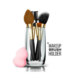 Makeup brush holder glass cup vector