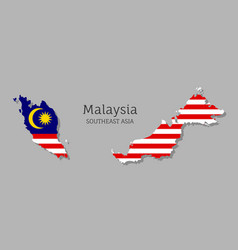 Map malaysia with national flag vector