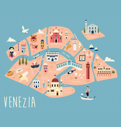 Map venice with famous symbols vector