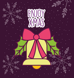 merry christmas celebration bell with ribbon vector image