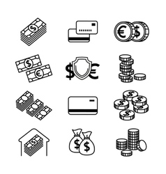 Money line icons set vector image
