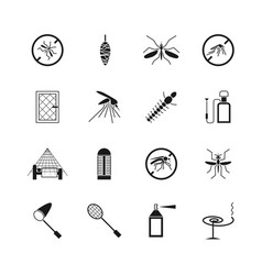 Mosquito prevent and control icons vector