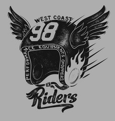 Motorcycle rider helmet t shirt print design vector