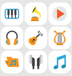 Music flat icons set collection of acoustic tone vector