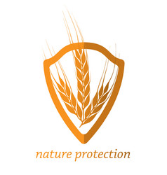 nature protection shield with a crop vector image
