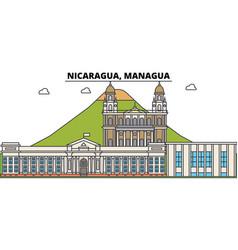 Nicaragua managua outline city skyline linear vector
