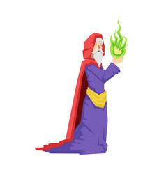 old wizard in a red cape holding green magic ball vector image