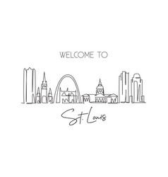 one single line drawing st louis city skyline vector image