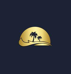 palm tree tropic beach logo vector image