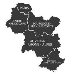 Paris - centre - bourgogne - auvergne - provence vector