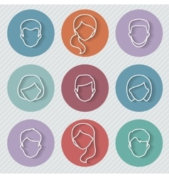 People userpics linear icons vector image