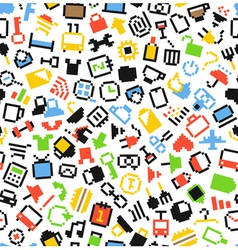 Pixel icons seamless background vector image