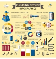 Plumbing Colored Infographic vector