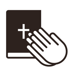 praying hands and bible vector image