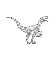 Prehistoric dinosaur doodle vector